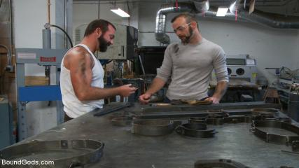 Bondage Gay Shop - Motor Oil Bondage Fuck In The Metal Shop